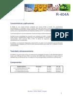Ficha Tecnica R404A GAS ECOLOGICO