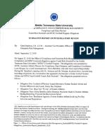 Summary of MTSU Investigative Review of Rick Stockstill and MTSU Football Program Allegations