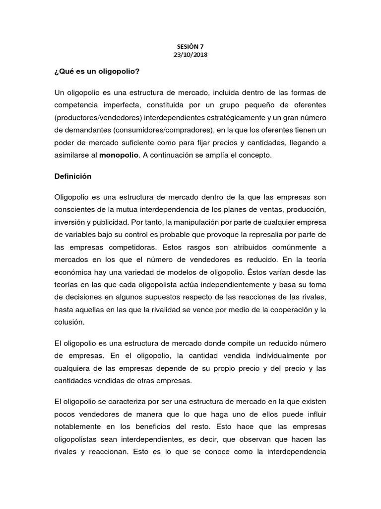 Qué Es Un Oligopolio Sesiòn 7 Oligopolio Mercado