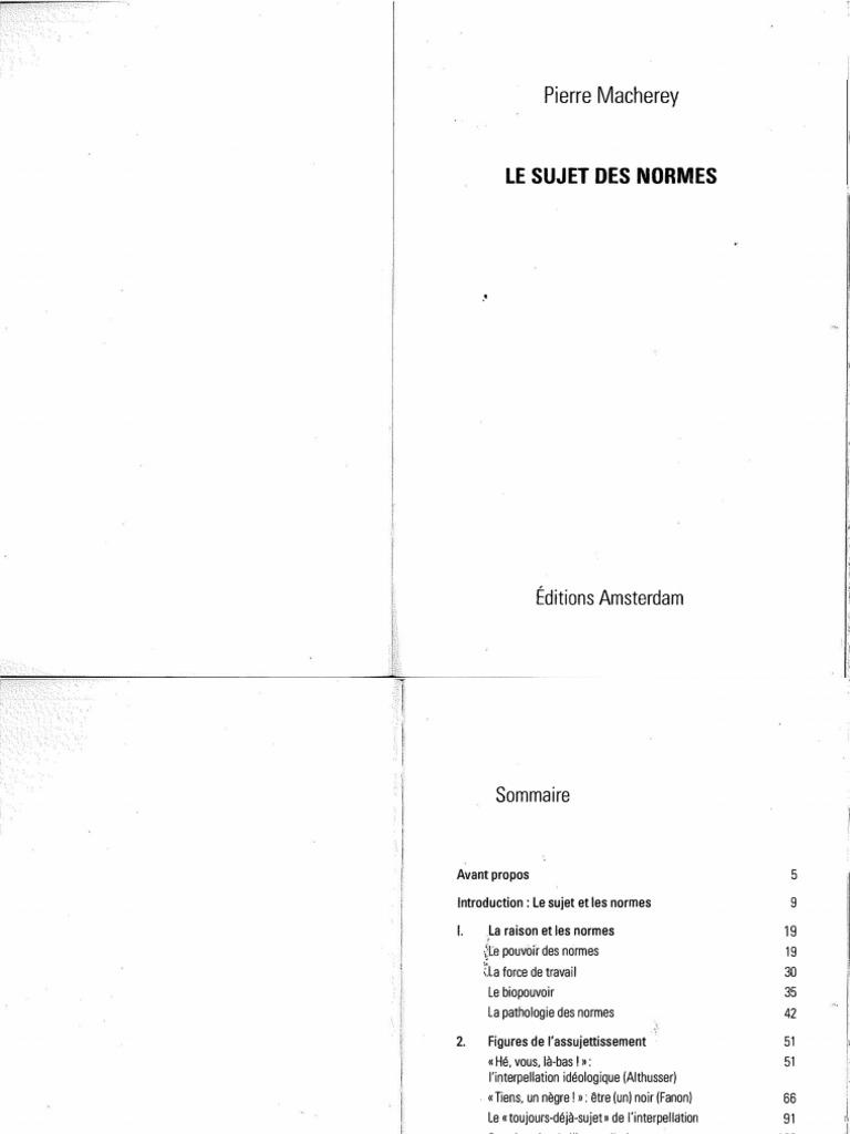 Pierre Macherey: Le Sujet Des Normes   Raison   Idéologies