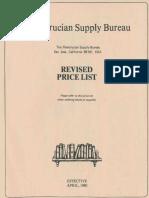 Rosicrucian Supply Bureau, Revised Price List (1980)