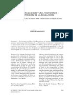 Vicente Balaguer - La Escritura y La Revelación
