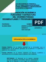 Organizacion Academica Funciones y Estructura Del Vicerrectorado UNESR