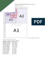 Tabla de Medidas de Papel Para Imprimir de A0 A
