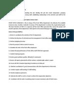 Duties & Responsibilities of Front Office Staff