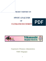 SWOT Analysys of Ultra Tech Cement