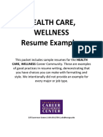 HealthWellness Resumes