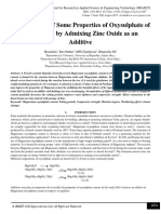 Investigations of Some Properties of Oxysulphate of Magnesium by Admixing Zinc Oxide as an Additive