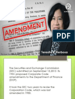 Proposed Amendments to the Corporation Code