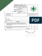 Daftar Tilik Kriteria Pasien Yang Dirujuk