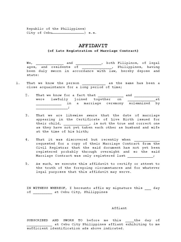 Affidavit of late registration of marriage contract yadclub Image collections