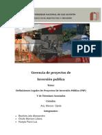 Definiciones Legales de Proyectos de Inversión Pública (PIP) Y Terminos Asoaciados