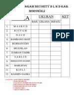Daftar Seragam Security d l h d Kab