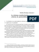 La Reforma Constitucion y Criterio de Justicialidad