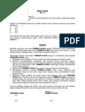 Contoh Surat Kuasa Untuk Laporan Ke Polisi Contoh Lif Co Id