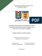 UN MODELO DE PLANIFICACIÓN ESTRATÉGICA PARA ORGANIZACIONES DE EDUCACIÓN SUPERIOR