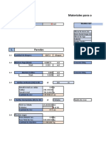 Ejemplo de Presupuesto de Materiales de Tapia en Excel