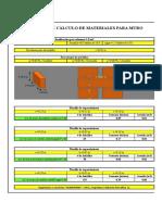 Planilla de calculo de materiales para muros