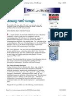 Active Filter - Analog Filter Design