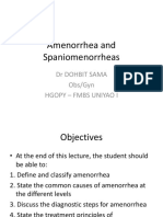 Amenorrhea and Spaniomenorrheas