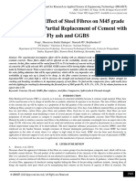 Evaluation of Effect of Steel Fibres on M45 grade of Concrete by Partial Replacement of Cement with Fly ash and GGBS
