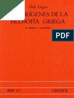 Los orígenes de la filosofía griega - Olof Gigon