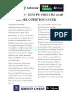 IBPS PO Prelims 2018 Model Question Paper