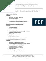 Programa de Estudio de Maestría en Ingeniería de Producción