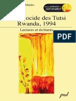 (Mémoire et survivance) Martin Catalina Sagarra-Le genocide des Tutsi, Rwanda, 1994 _ Lectures et écritures-Les Presses de l'Université Laval (2009)