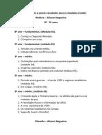 Lista de Conteúdo a Serem Estudados Para o Simulado e Testes