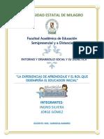 LA EXPERIENCIAS DE APRENDIZAJE Y EL ROL QUE DESEMPEÑA EL EDUCADOR INICIAL