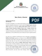 Sentencia de Rectificación Lista Tribunal Superior Electoral