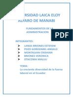 Fundamentos de La Administracion Enfoque Laboral en Ecuador