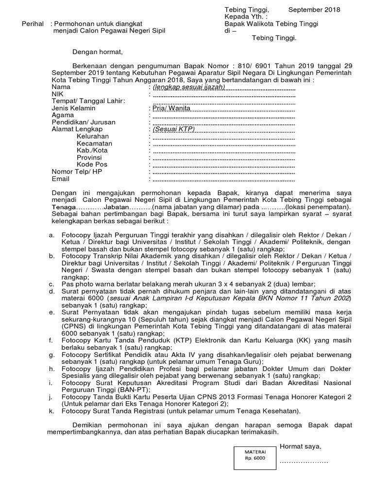 Contoh Surat Lamaran Cpns Guru 2019 Jawa