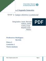 """TP Fisica """"Determinacion de los campos electricos de distintos cuerpos en medio acuoso"""""""