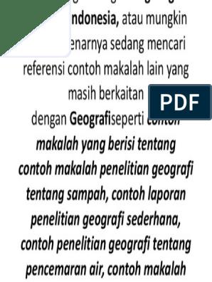 Contoh Makalah Penelitian Geografi
