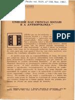 Florestan Fernandes. Unidade das Ciências Sociais e a Antropologia. 1961.pdf