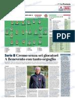 La Provincia Di Cremona 27-10-2018 - Serie B