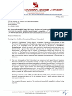 Letter sent by SIU to the Ministry of Women and Child Development on 03/05/2018