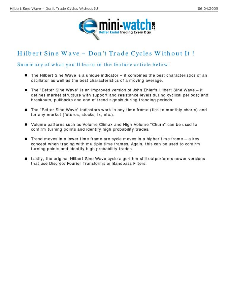 Hilbert Sine Wave | Moving Average | Discrete Fourier Transform