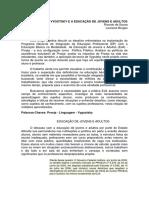 A TEORIA DE VYGOTSKY E A EDUCAÇÃO DE JOVENS E ADULTOS - RICARDO DE SOUSA E LAURIANE BORGES