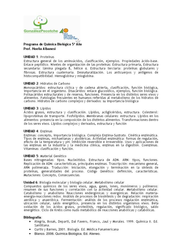 Quimica Biologica Enzima Metabolismo