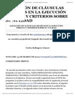 ALEGACIÓN DE CLÁUSULAS ABUSIVAS EN LA EJECUCIÓN DIRECTA Y CRITERIOS SOBRE SU NULIDAD