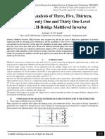 Simulation Analysis of Three, Five, Thirteen, Fifteen, Twenty One and Thirty One Level Cascaded H-Bridge Multilevel Inverter