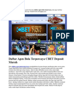 Daftar Agen Bola Terpercaya CBET Deposit Murah