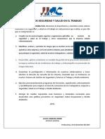 Politica de Seguridad y Salud en El Trabajo (Para Imprimir) v.01