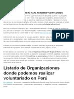 Organizaciones de Perú Para Realizar Voluntariado