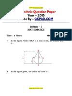 Polytechinic Paper - 2015 (English)