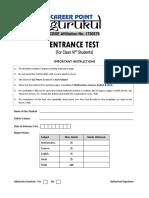 Career Point Entrance Test Sample Paper