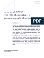 The Role of Education Preventing Radicalisation